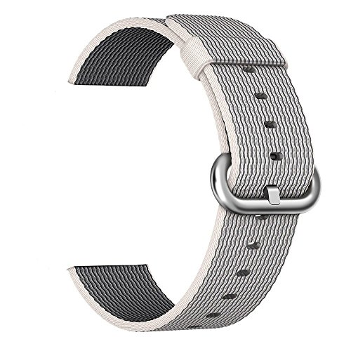 Apple Watch Band, LazyOdd Woven Nylon Wrist Strap Replacement Nylon Band with Classic Buckle for Apple Watch Series 2 Series 1(38mm Pearl)