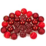 Juvale 28-Pack Christmas Tree Decorations – Glittery Xmas Ball Ornaments in 4 Assorted Designs - Perfect Festive Decor Embellishments, 2.2 x 2.4 x 2.2 Inches, Red