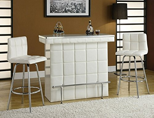 Ronni collection white tufted vinyl front bar table with glass top and chrome accents and footrest (Collection Bar Stool)