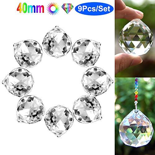 Clear Glass Crystal Ball PrismK9 Top Grade Crystals Rainbow Pendant Suncatcher Hanging Ball Sun Catcher Clear for DoorWindows Chandelier DropHome Wedding DecorFeng ShuiGift9Pcs 40mm/157quot