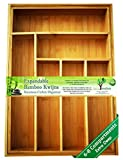Top Rated Kwijns EXPANDABLE 100% Pure Bamboo, DEEP Silverware, Utensil - Cutlery and Utility Drawer Organizer-2 Year Warranty