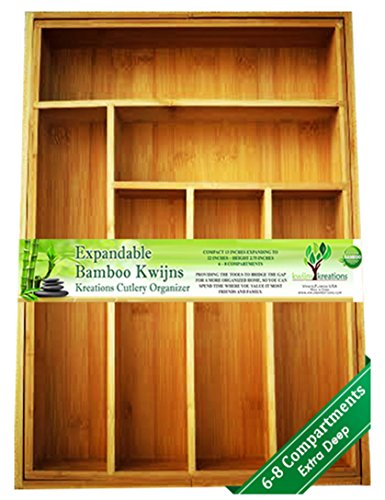 EXPANDABLE Bamboo Silverware Organizer 6-8 Slots Adjustable Drawer Inserts with Deep Dividers for Storage of Flatware, Cutlery, Wooden or Stainless Utensils - Kitchen Knives to Jewelry 2 Year Warranty