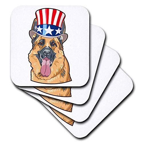 3dRose Patriotic American Dogs - German Shepherd wearing top hat with American flag on it - set of 4 Ceramic Tile Coasters (cst_294997_3)