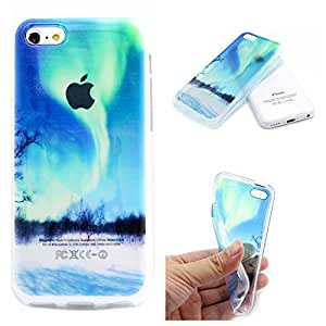 Iphone 5c Case, JAHOLAN Tornado Painting Clear Bumper TPU Soft Case Rubber Silicone Skin Cover for iphone 5c