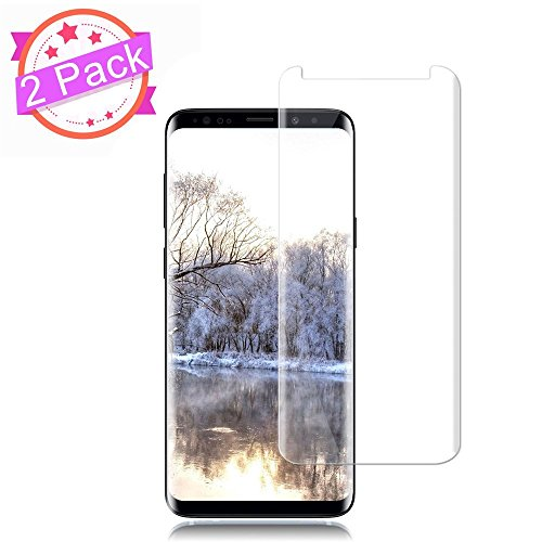 [2 Pack] Galaxy S9 Screen Protector 9H Hardness/Anti-Scratch/Anti-fingerprint/Anti-Bubble/3D Curved/High Definition/Ultra Clear Tempered StinkLight Glass Screen Protector Compatible Samsung Galaxy S9