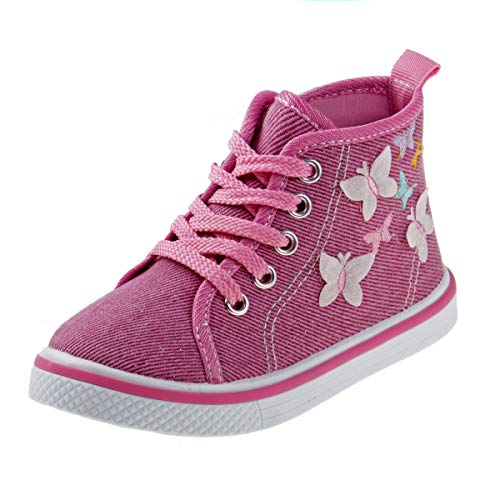 Laura Ashley Girls Side Zipper High Top with Glitter & Studs, Pink Butterfly, 5 Toddler' -