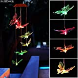 Solar Led Butterfly Wind Chimes, PATHONOR Color-changing Wind Chime Waterproof Automatic Light...