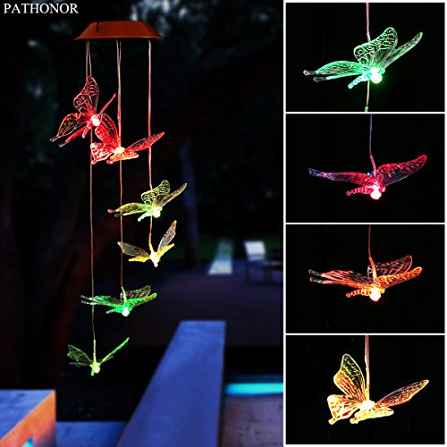 Solar Led Butterfly Wind Chimes, PATHONOR Color-changing Wind Chime Waterproof Automatic Light Sensor Outdoor Decor for Valentines Gift Home Party Balcony Porch Patio Garden, Upgraded Version