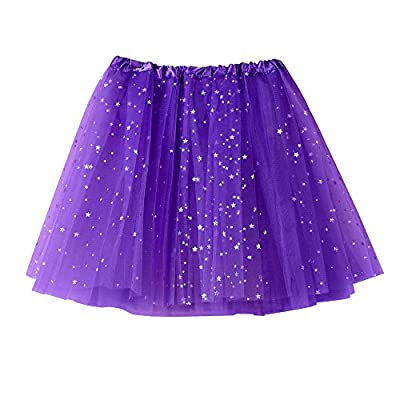 NUWFOR Women's Layered Stars Sequins Tutu Skirt Princess Ballet Dance Dress White