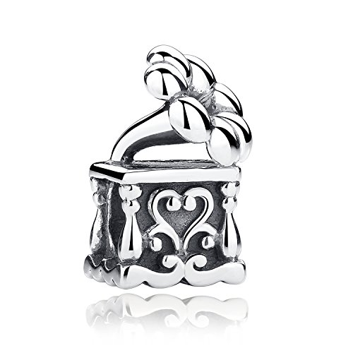 Sterling Silver Phonograph Bead Charms Musical Note Old-fashioned Turntable Gramophone Charm Fit (Phonograph Bead)