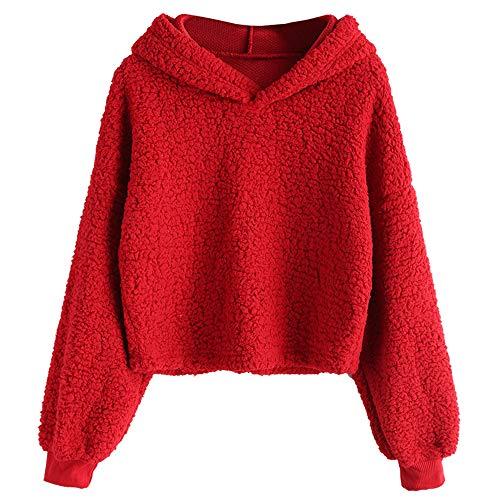 - ZAFUL Women's Fuzzy Faux Fur Oversized Pullover Crop Hoodie Sweatshirt (Red, S)