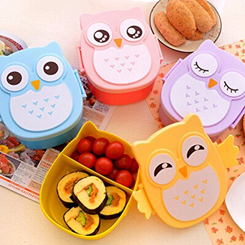 Copter Shop 1050ml Cartoon Owl Tableware Food Fruit Storage Container Portable Bento Box Food-safe Food Outdoor Camping Lunch Dinnerware Box (Purple)