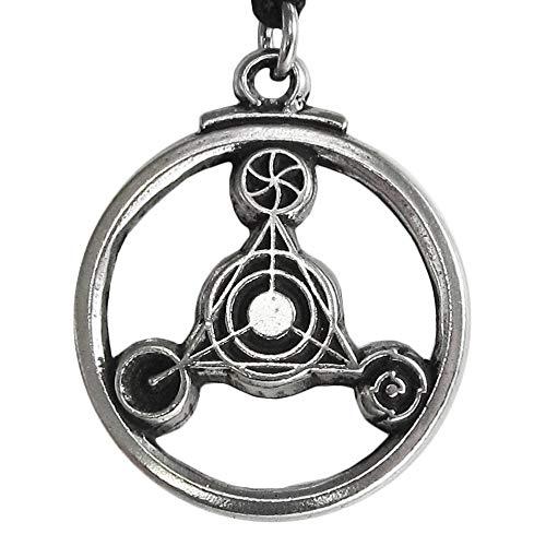(Pewter Barbury Crop Circle Sacred Geometry Alien UFO pendant)