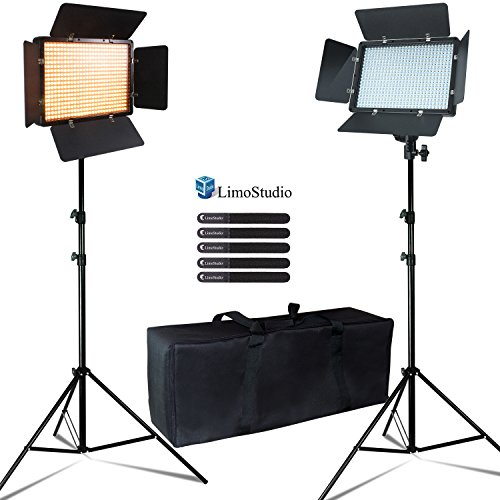 LimosStudio 2-Pack 600 LED Photographic Barn Door Lighting Panel Set with Tripod Stand & Velcro Strap Tie, 3000 / 5600 Kelvin Color Temperature, Dimmer Control, Photography Studio, AGG2400 by LimoStudio