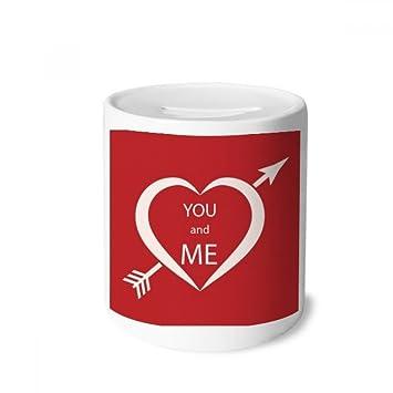 DIYthinker Blanco Rojo del día de San Valentín You and Me Caja de Dinero de Las