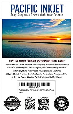 Pacific Inkjet Premium Matte Finish Photo Paper - 100 Sheets Professional Presentation Paper for Inkjet Printers - Ideal Print Paper for All Photography and Art Projects