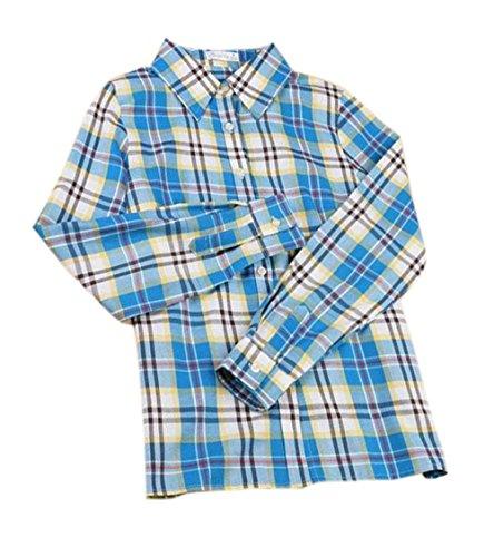 Shirts Chemises Blouse Moyen et Treillis Casual Automne Manches Longues Hauts JackenLOVE Fashion Tee Chemisiers Revers Bleu Femmes Printemps Tops wIqpaz