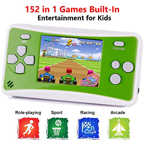 X-JJFUN Portable Handheld Games Console for Kids, QS-1 Classic Game Consoles Built in 152 Games 2.5 Inch Color LCD Retro Arcade Video Gaming System, Birthday for Children- Green