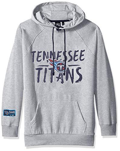 NFL Tennessee Titans Women's Fleece Hoodie Pullover Sweatshirt Tie Neck, Medium, Heather Gray