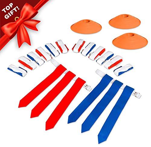 14 Player Flag Football Deluxe Set - 14 Belts, 42 Flags, 12 Cones & 1 Mesh Carrying Bag for Flag Football (Flag Football Belts Velcro)