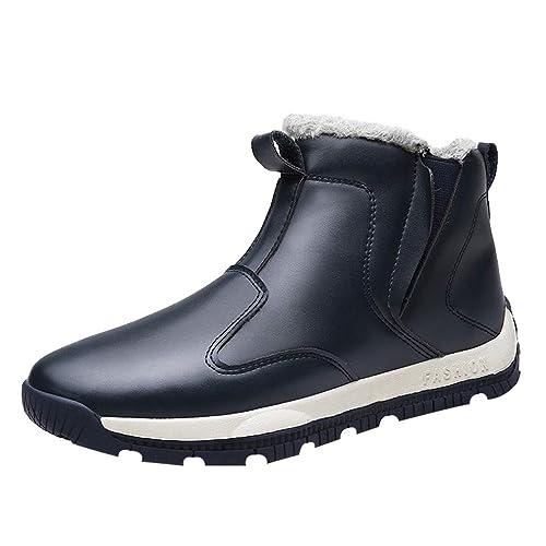 Botas de Nieve Botines para Hombre - Invierno Caldo Zapatos con Forrado Calentar Impermeable Antideslizante Outdoor Zapatos Planas Zapatillas Calzado ...