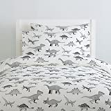 Carousel Designs Gray Watercolor Dinosaurs Duvet Cover Twin Size - Organic 100% Cotton Duvet Cover - Made in The USA