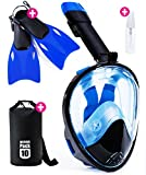 Snorkel Mask Full Face - 2017 Snorkeling Set for Adult Kids & Youth + Extra Diving Fins Dry Bag & Anti Fog Spray - Easybreath Gopro & Scuba Dive Gear - Easy Go Pro Head Mount Panoramic 180° SeaView