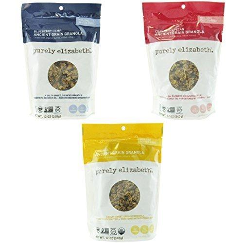 Purely Elizabeth Ancient Grain Granola Variety 3 Pack Original + Cranberry Pecan + Blueberry - Cranberry Pecan Granola