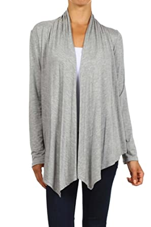 a442af9440c4 Women's Plus Solid Long Sleeve Draped Neck Open Front Cardigan. Made in USA  (2X