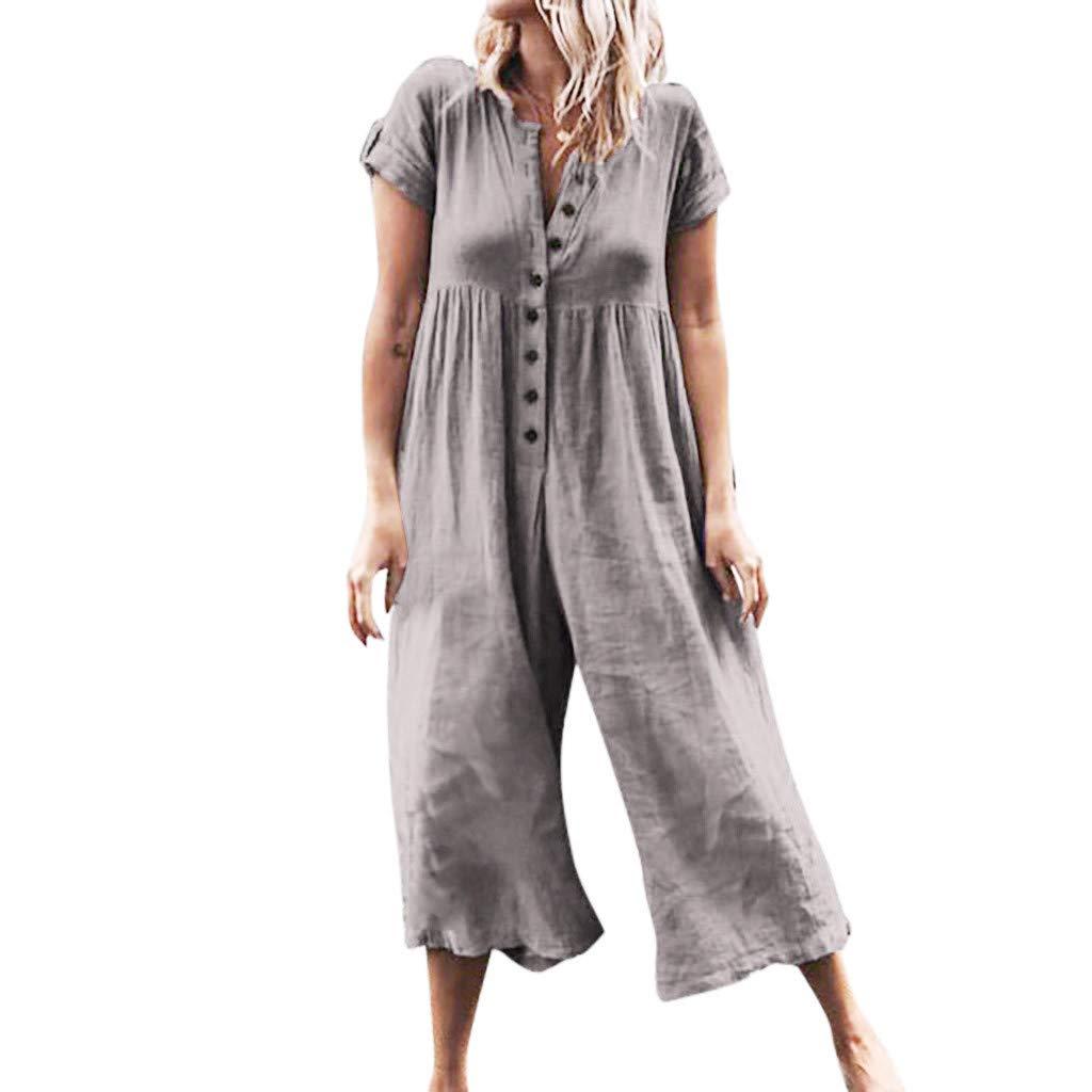 Tuta Donna Honestyi Salopette Sciolto Jumpsuits Cotone e Lino Pantaloni Siamesi Retro Gamba Larga Pantalone Casual