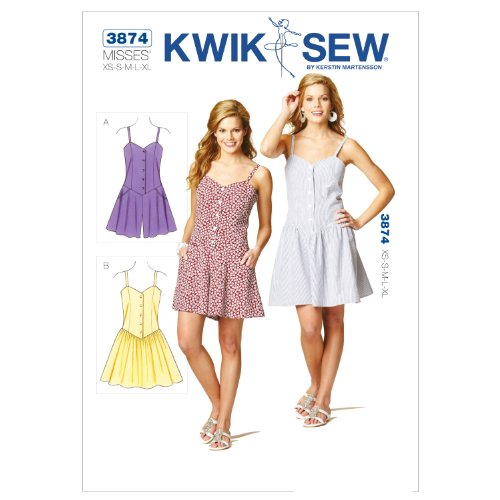 Kwik Sew K3874 Romper and Dress Sewing Pattern, Size XS-S-M-L-XL (Dress Sew Princess)