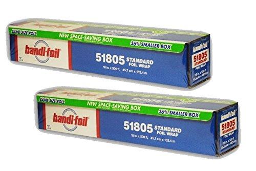 Handi-Foil 18'' x 500' Standard Aluminum Foil Food Service Wrap 2 Rolls - #51805 (PACK OF 2)