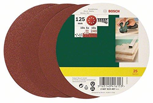 Bosch DIY 25tlg. Schleifblatt-Set verschiedene Materialien für Exzenterschleifer (Körnung 80/120/240)