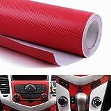 "WindMax® 3D Carbon Fiber Vinyl Car DIY Wrap Sheet Roll Film Sticker Decal - Red Color 30*152cm 12""*60"""