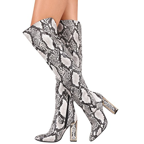 Bamboo Womens Pointy Toe Over The Knee High Gold Trim Chunky High Heel Boot Python Snake u2KqM