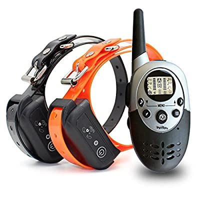 PetSpy 1100 Yard Waterproof Rechargeable Remote Training Dog Collar with Beep, Vibration and Electric Shock for 2 Dogs from PETSPY INC