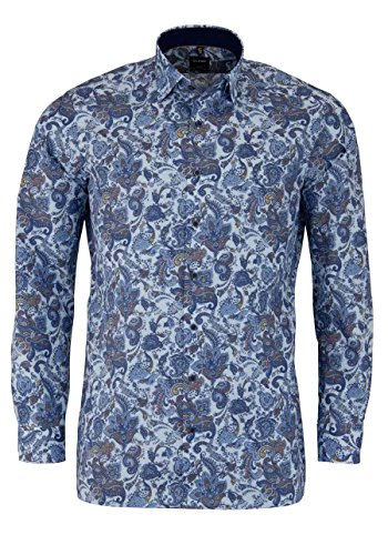 OLYMP Luxor Modern Fit Hemd Extra Kurzer Arm Muster Hellblau AL 58