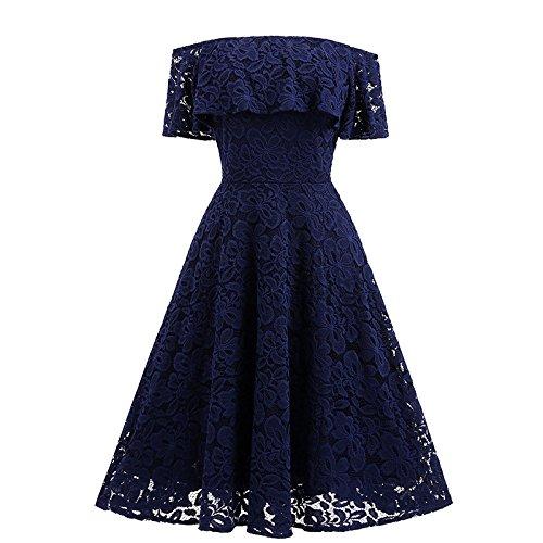 XIU*RONG Vestido De Encaje Con Un Hombro Vestidos De Péndulo Grande dark blue