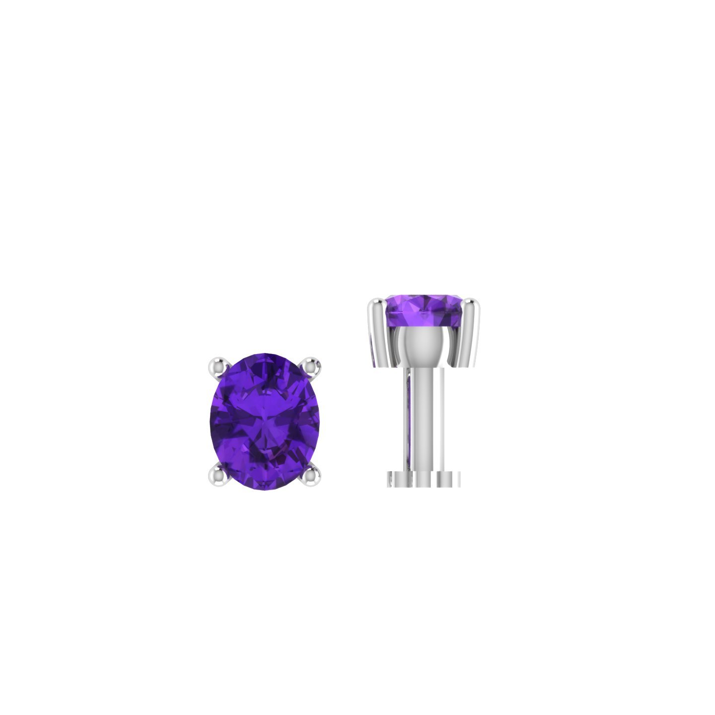 Silvercz Jewels 0.15 Ct Amethyst Solitaire Nose Bone 925 Sterling Silver Screw Stud Piercing Ring Pin