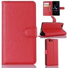 """Doogee X5 leather case, Gift_Source [Red] [Stand Feature] Magnetic Snap Case Wallet Premium Wallet Case Built-in Card Slots Flip Case Cover Skin for Doogee X5 / X5 PRO 5"""" inch"""