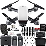 DJI Spark Portable Mini Drone Quadcopter Fly More Combo Water Proof Hard Case Bundle (Alpine White)