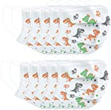 3 Ply Non-Woven, Disposable Face Bandanas with Cute Dinosaur Pattern, Cloth Covering, No Washable, Breathable and Anti-Haze Dust, for Kids