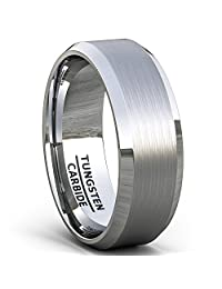 Duke Collections Mens Wedding Band 8mm Classic Brushed Tungsten Ring Beveled Edge Comfort Fit