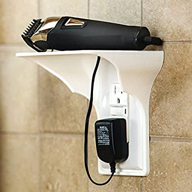 Power Perch - 1pack (white) - The Ultimate Shelf for Your Home - Works with Vertical Single Outlets - No Additional Hardware Required with Damage Free Installation by STORAGE THEORY