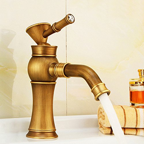 CQOZ Faucet All Copper Faucet Face Basin Counter Basin Hot And Cold Faucet European Style Drawing Wire Drawing Faucet