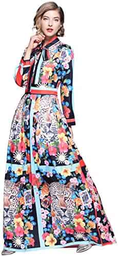 e640785756f Womens Tie Neck Long Sleeve Animal   Floral Print Casual A line Party Maxi  Dress