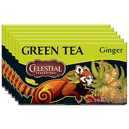 Celestial Seasonings Green Tea, Ginger, 20 Count (Pack Of 6)
