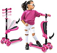 Hurtle 3 Wheeled Scooter for Kids - 2-in-1 Sit/Stand Child Toddlers Toy Kick Scooters W/Flip-Out Seat