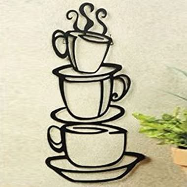 Coffee House Cup Java Silhouette Wall Art Sticker, Metal Black Finish