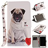 Misteem Case for iPhone 6 Plus Animal, Cartoon Anime Comic Leather Case Card Slot Holder Flip Cover Shockproof Slim Creative Pattern Shell Protective Cover for Apple iPhone 6S Plus [Dog Pug]